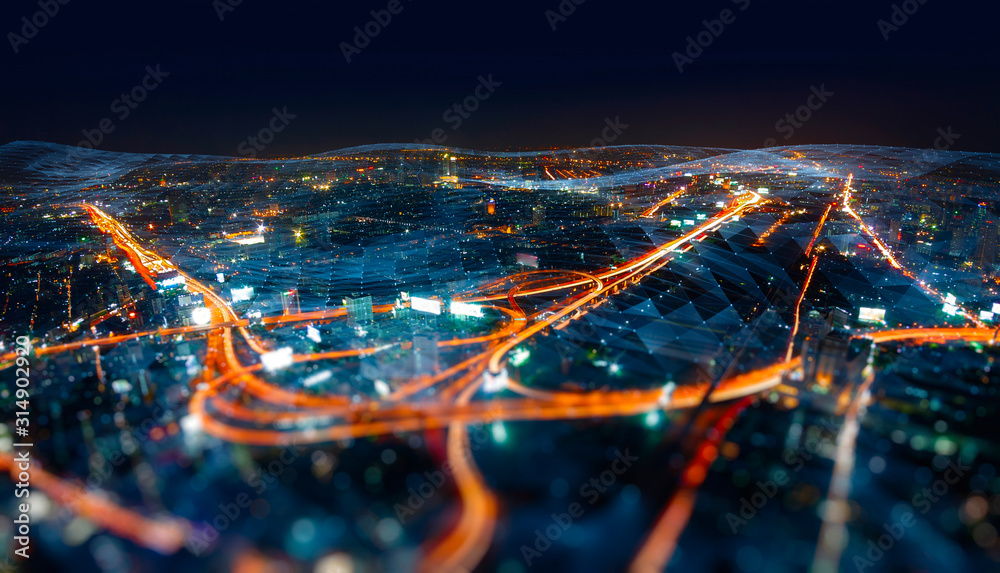 Fototapeta Wireless network and Connection technology concept with Abstract Bangkok city background