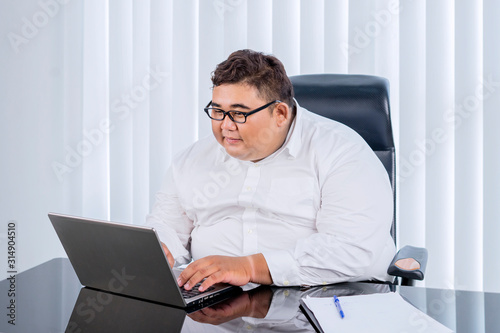 Fat businessman with glasses working at his laptop Wallpaper Mural