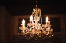 Antique Vintage Chandelier With Crystals