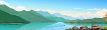 A Freshwater Lake, Mountains A...