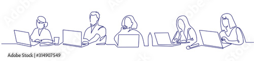 Obraz Group of people working continuous one line vector drawing. Students preparing to exams, doing homework hand drawn characters. - fototapety do salonu