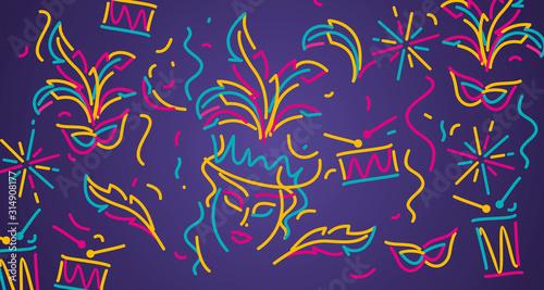 Obraz na płótnie Carnival 2020 colorful line design carnival object elements purple background