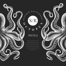 Octopus Colored Banner Template. Hand Drawn Vector Seafood Illustration On Chalk Board. Engraved Style Squid. Retro Menu Design