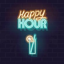 Neon Happy Hour Signage. Glowi...