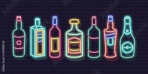 Neon bar shelf bottles icon set Canvas Print