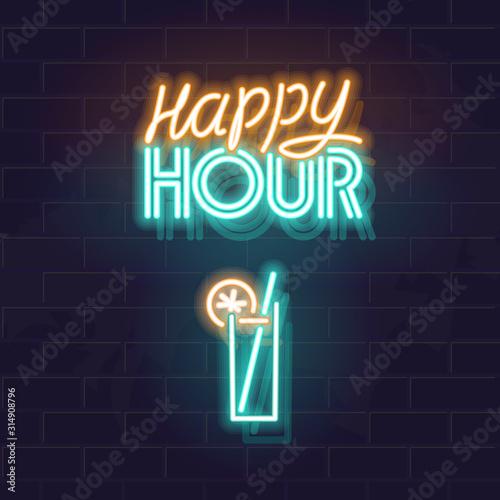Canvas-taulu Neon happy hour signage