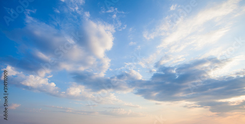 Blue sky clouds background Canvas Print
