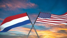 3D Illustration Of USA And Netherlands Flag
