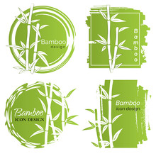 Set Of Logo Icon Or Emblem With Hand Drawn Bamboo Elements. Original Concept For Business. Design Elements. Vector Illustration.