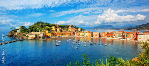 Fototapeta Sestri Levante, Italy, a popular resort town in Liguria