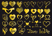 Gold Hand Drawn Hearts, Vector Set
