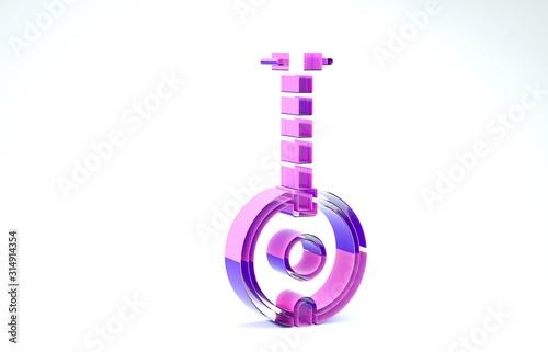 Photo Purple Banjo icon isolated on white background