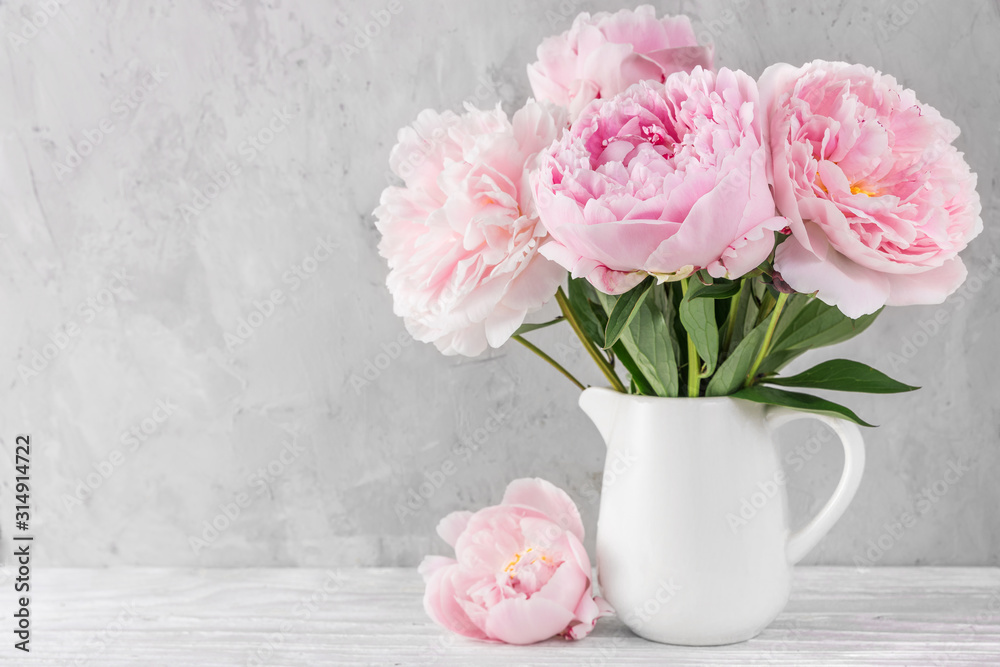 Fototapeta pink peony flowers bouquet on white background with copy space. still life. womens day or wedding concept