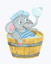 Cute Little Elephant Taking Bath