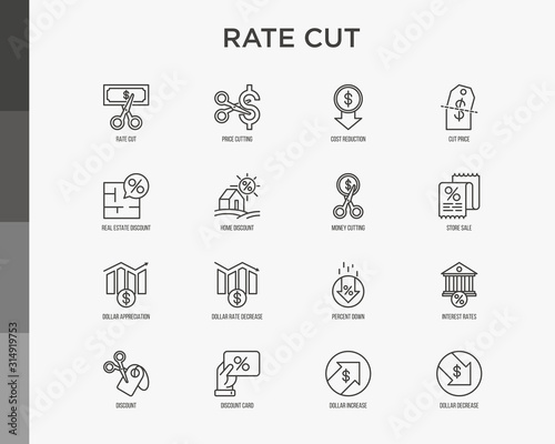 Fototapeta Rate cut thin line icon set: cutting price, cost reduction, sale, discount, receipt, loyalty card, interest. Modern vector illustration. obraz