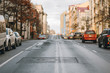 empty city defocus the road, city street without people
