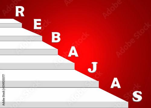 Rebajas, escaleras, bajada, fondo rojo iluminado, ventas. Wallpaper Mural