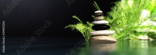 Pyramid of stone on the surface of the water, spa item, 3D rendering Wallpaper Mural