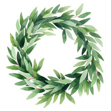 Watercolor Wreath Of Branches Of Eucalyptus. Hand Painted Vintage Frame With Branches Isolated On White Background. Traditional Evergreen Frame. Christmas Green Wreath.