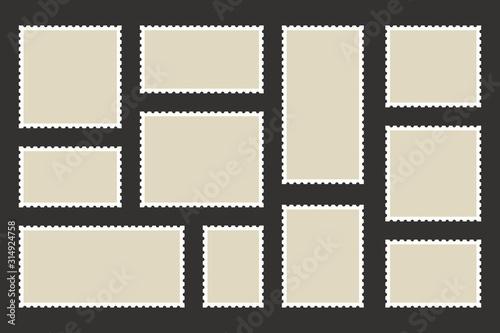 Fotomural Set blank postage stamp
