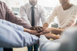 Leinwanddruck Bild - Stack of hands. Unity and teamwork concept.