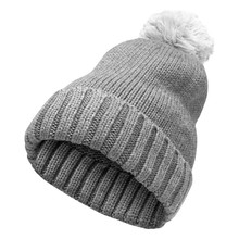Winter Gray Woolen Hat With A ...