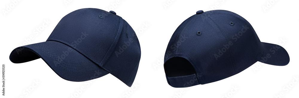 Fototapeta Blue baseball cap in angles view front and back. Mockup baseball cap for your design