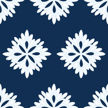 Abstract Floral Seamless Repeat Pattern In Navy Blue And White. Simple Pattern Of Very Light Blue And White Flowers On A Navy Blue Background. Colors Coordinate With Color Of The Year Classic Blue.