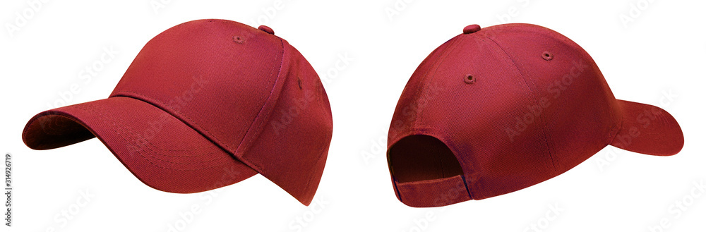 Fototapeta Red baseball cap in angles view front and back. Mockup baseball cap for your design