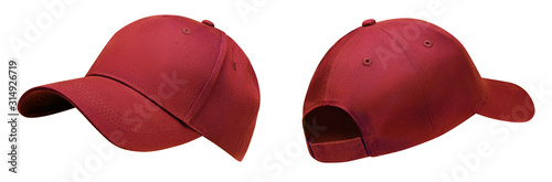 Stampa su Tela Red baseball cap in angles view front and back