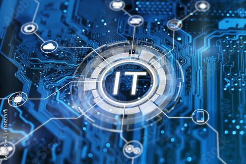 Fototapeta IT. Information technology concept. Motherboard integrated circuit and tech icons illustrtion. Futuristic bakground. obraz na płótnie