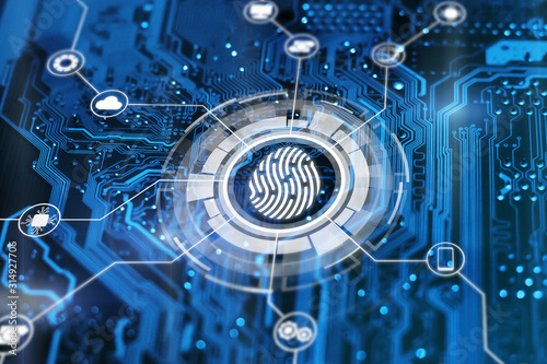 Fototapeta Fingerprint login authorization and cyber security concept. Blue integrated circuit with futuristic icons on background. Control access and authentication online. obraz na płótnie