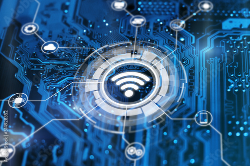 Fototapeta Wireless technology futuristic illustration on integrated  circuit background. Hotspot antenna sign. Wifi icon. obraz na płótnie