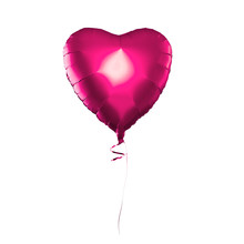 Pink Heart Balloon Isolated On White Background