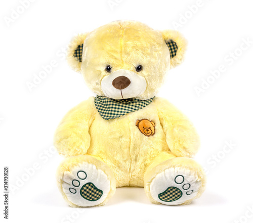 soft toy white background isolated brown bear