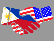 Philippines And USA Flags Hand...