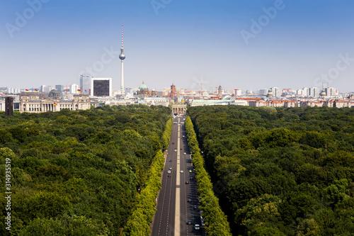 Tiergarten Berlin mit Blick auf den Fernsehturm und das Brandenburger Tor Wallpaper Mural