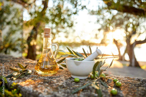Fototapeta .Green Olives And Bottle Of Olive Oil obraz