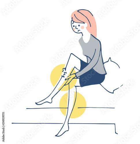 足のむくみを気にする女性 Canvas Print
