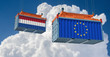Freight container with European Union and Netherlands flag. 3D Rendering