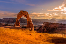 Delicate Arch At Sunset, Arches National Park, Moab, Utah