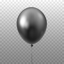 Black Balloon Isolated On Transparent Background.3D Vector Illustration Of Celebration, Party Balloons