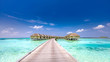 Fantastic landscape of Maldives beach. Tropical panorama, luxury water villa resort with wooden pier or jetty. Luxury travel destination background for summer holiday and vacation concept.