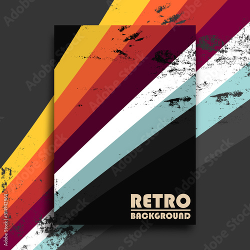 Obraz Retro design poster with vintage grunge texture and colorful stripes. Vector illustration - fototapety do salonu