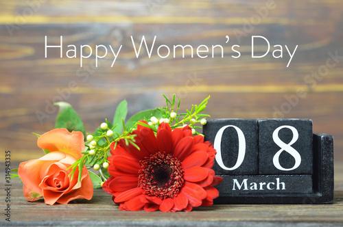 Cuadros en Lienzo Internacional Womens Day card. Wooden calendar and flowers