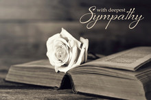 Sympathy Card With Rose On Open Book