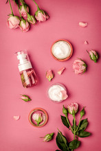 Homemade Spa With Rose Cosmeti...