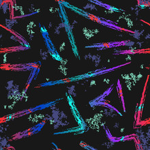 Vector Abstract Brush Strokes Seamless Pattern. Neon Paint Splashes, Graffiti, Ink Grunge Texture. Creative Modern Background. Urban Street Art Style. Black, Vibrant Blue, Red, Purple, Green Colors