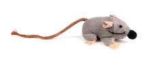 Artificial Mouse Grey Pet Toy For Cats Isolated On White Background