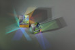 canvas print picture - Two optical glass cubes scatter spectrum light